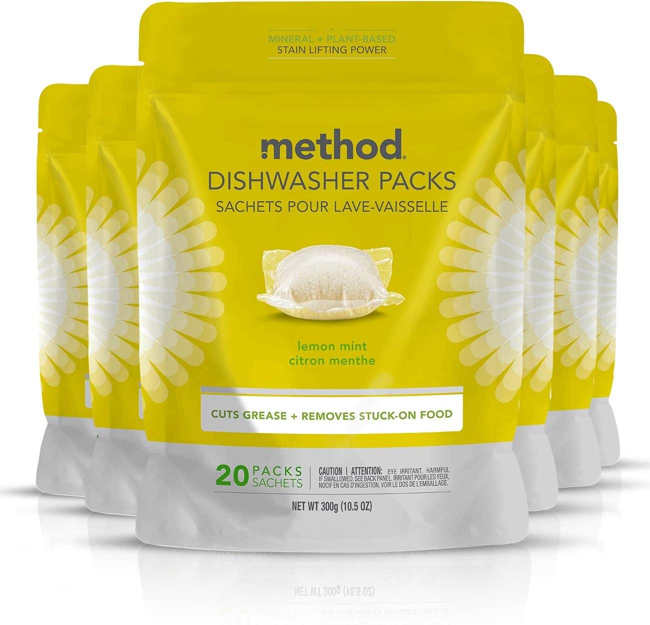 Method Power Dish Dishwasher Soap Packs, Lemon Mint, 20 Count (Pack of 6)