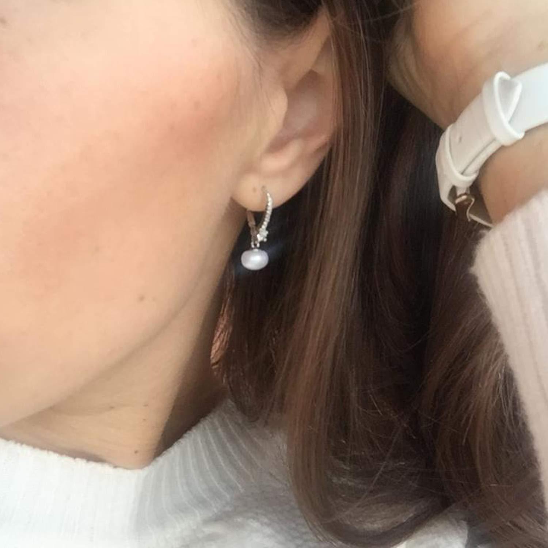 JO WISDOM 925 Sterling Silver 8mm Freshwater Pearl Earrings Drop Dangle Leverback Earrings