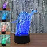 3D Animal Kangaroo Night Light 7 Color Change LED Table Desk Lamp Acrylic Flat ABS Base USB Charger Home Decoration Toy Brithday Xmas Kid Children Gift