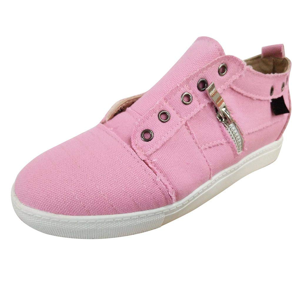 ❤SSYongxia❤ Fashion Girl Women's Slip-On Shoes Casual Walking Sneakers Comfortable Shoes Solid Flat Shoes Pink