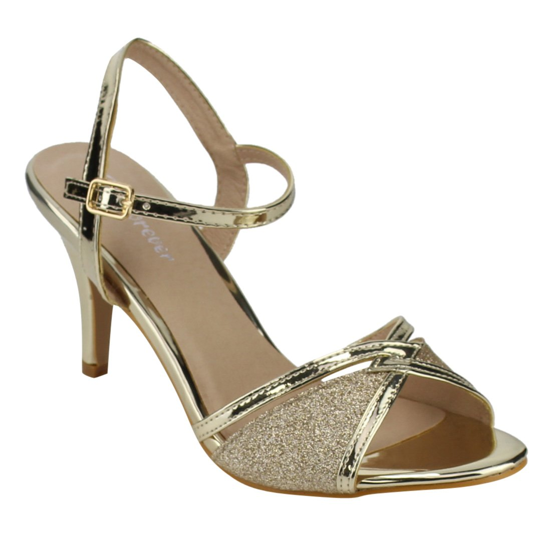 FOREVER FQ28 Women's Glitter Metallic Ankle Strap Buckle Wrapped Heel Sandals