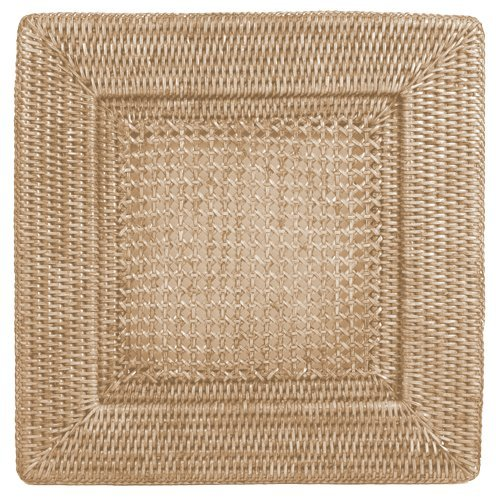 Placemats Chargers Rattan Wicker Set of 4 Place Mats Square 12 inches (Wicker Chargers Square)