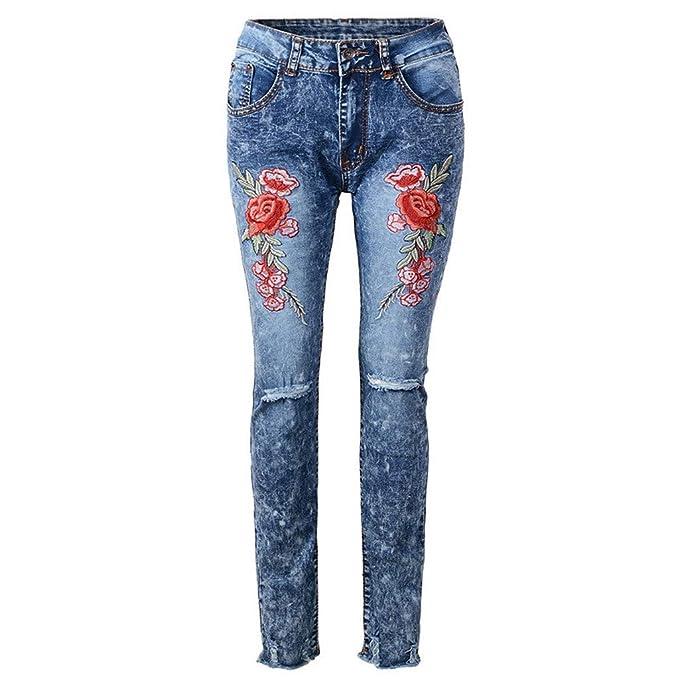 K-Youth® Pantalones Vaqueros de Mujer Rotos Verano Vaqueros ...