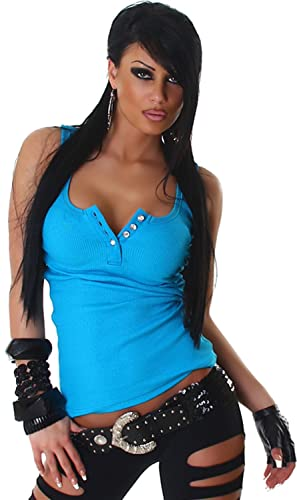 Sexy camicia della parte superiore del serbatoio pulsanti costola ottica strass 36,38,40,42 – vari colori