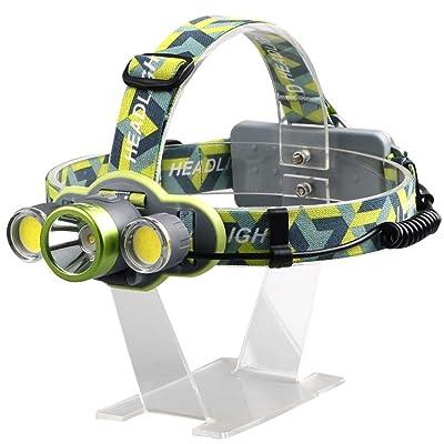 Les trois phares brillants de LED brillent la tête d'ajustement élastique à longue portée rechargeable avec le projecteur de camping extérieur mené