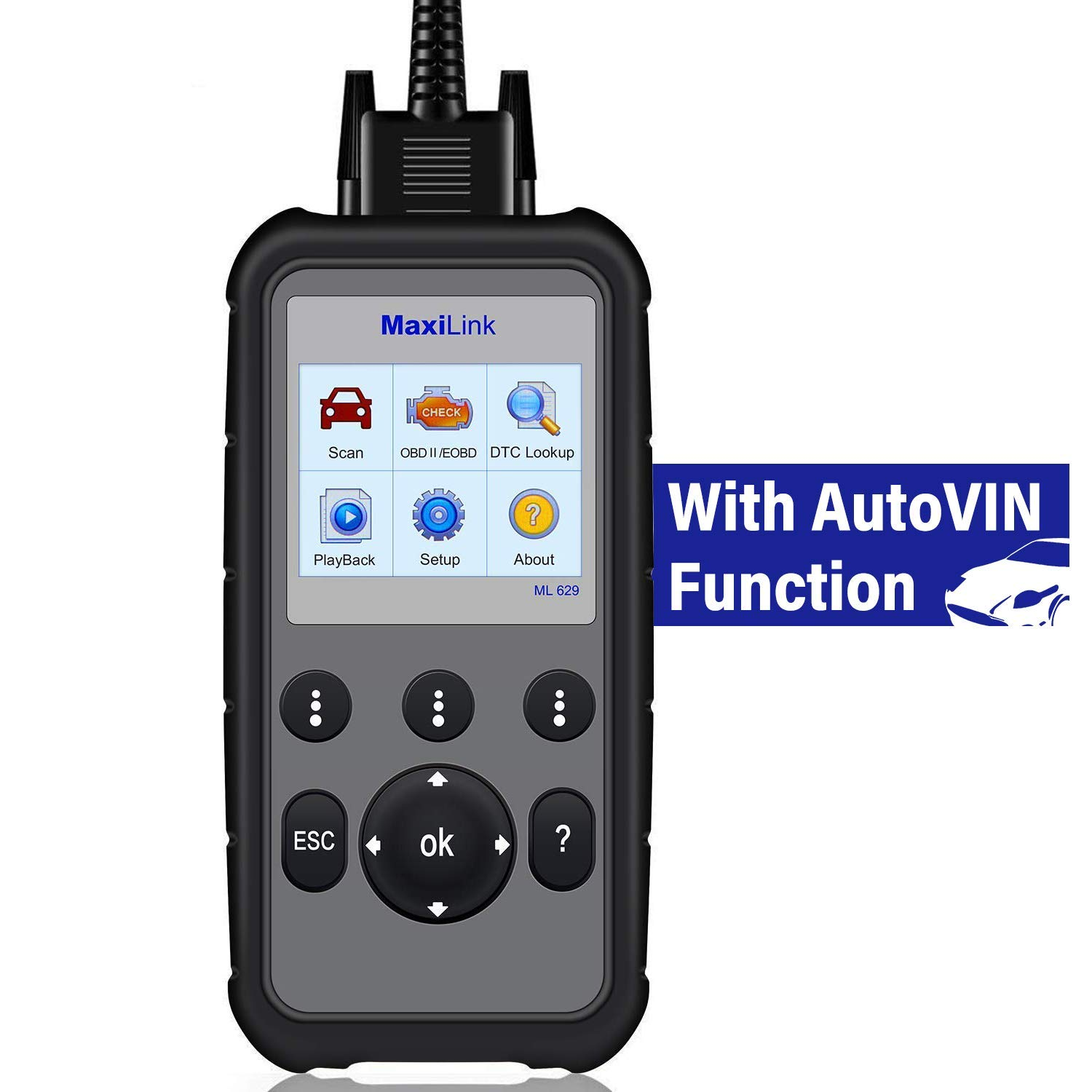 Autel ML629 OBD2 Scanner Code Reader with AutoVIN  Function+ABS/SRS/Engine/Transmission Diagnostic Scan Tool, Turns Off Engine  Light (MIL) and ABS/SRS