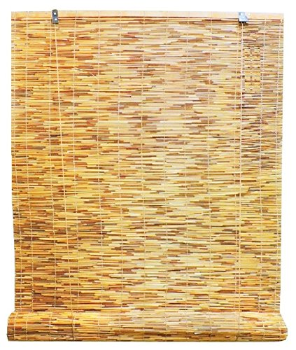 Radiance 0360726 Natural Reed Woven Light Filtering Roll Up Window Blind, 72-Inch Wide by 72-Inch High (Patio Outdoor Blinds Sun)