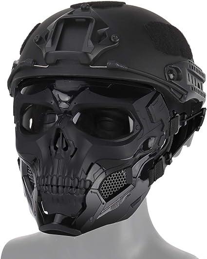 QHIU Masque Tactique Demi-Visage Militaire Protection M/étal Mesh pour Airsoft Paintball CS Sports de Plein air