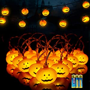 Halloween Decoration Clearance String Lights 20 LED Battery Operated 3D Orange Pumpkins 2 Modes for Outdoor & Indoor Party Decorations Patio, Garden, Gate, Yard Decor