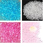 Fishbowl Beads for Crunchy Slime - Clear Plastic Vase Filler Beads Fish Bowl Beads for Homemade Slime, Kid's Arts DIY Crafts, Wedding and Party Decoration(100% Plastic) (7 oz / 200g) (4 Colors_B)