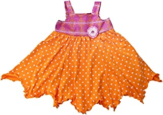 product image for Cheeky Banana Little Girls Handkerchief Dress Orange Fuchsia Dot