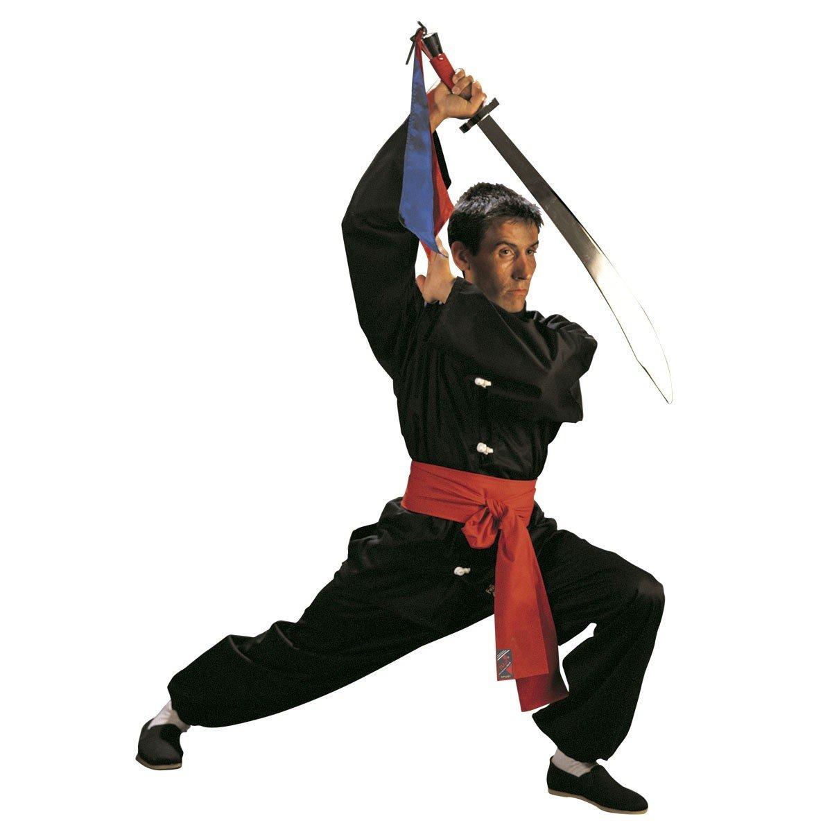 Fuji Mae - Kimono kung fu tradicional, color negro, talla 3 - 160 cm