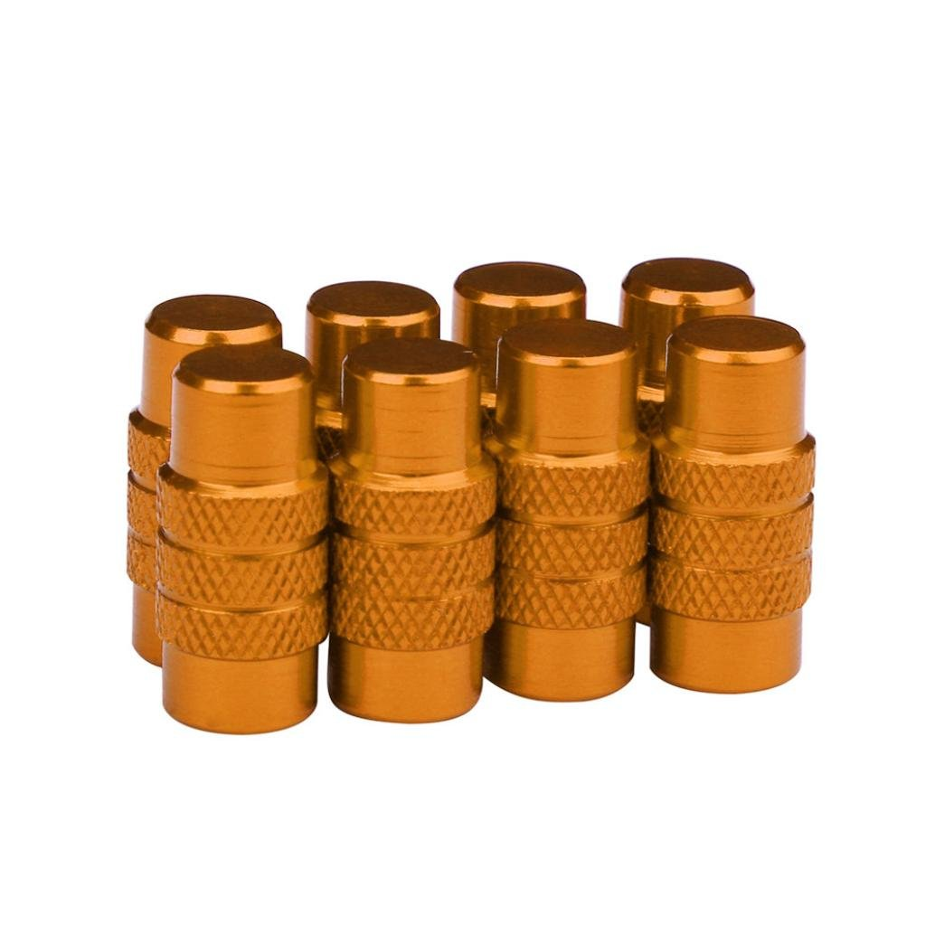 Glumes Cylinder Style Presta French Valve Caps Bicycle Bike Cool Colours, for Car, Motorbike, Bike, 8pcs (Gold)