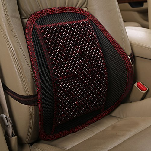 INCH EMPIRE Lumbar Support Wood Beads Massage Pillow Cushion with Strap - Summer Cool Winter Warm Back Pillow for Car Seat,Office and Home Chair ()