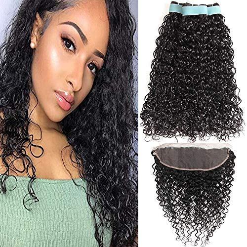 Brazilian Hair Bundles with Frontal Water Wave Bundles with Lace Frontal 13x4 Ear to Ear Lace Frontal 9A Virgin Human Hair Bundles Wet and Wavy Hair(20 22 24 + 18 frontal)