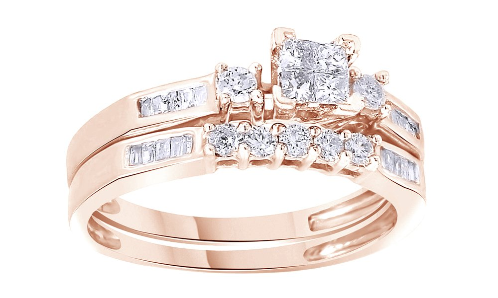 White Natural Diamond Engagement and Wedding Bridal Ring Set in 14k Rose Gold Over Sterling Silver (0.43 Cttw)