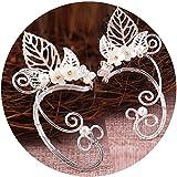 Elf Ear Cuffs, Aifeer 1 Pair Pearl Beads Filigree Fairy Elven Cosplay Fantasy Handcraft Ear Cuffs (Leaf Design)