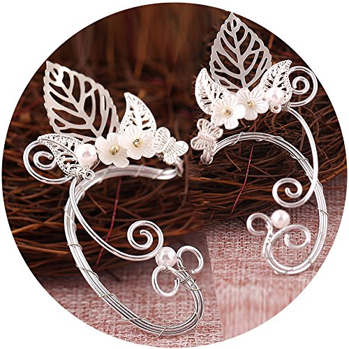 Hollowed Costumes (Elf Ear Cuffs, Aifeer 1 Pair Pearl Beads Filigree Fairy Elven Cosplay Fantasy Handcraft Earring (Leaf Design))