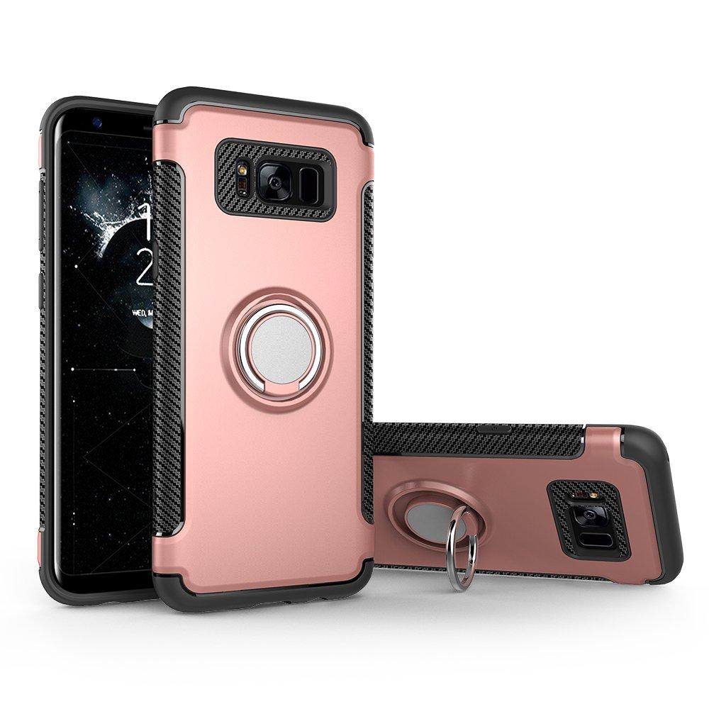Shinyzone Coque Samsung Galaxy S8 Porte-Anneau B/équille Fonction, Double Couche TPU Fibre de Carbone Antid/érapant Support de Voiture Magn/étique PC Design-Noir