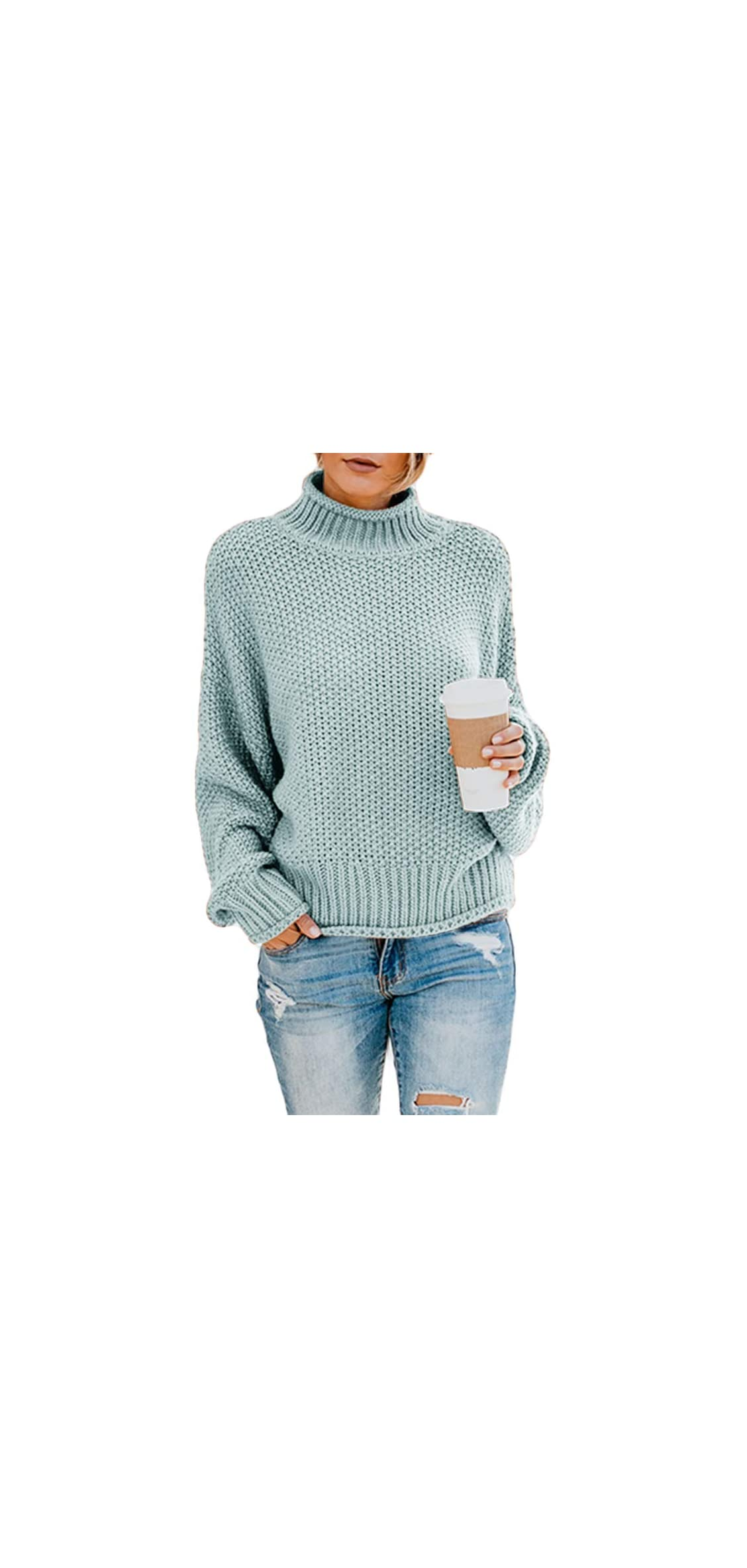 Womens Turtleneck Sweaters Batwing Long Sleeve Casual