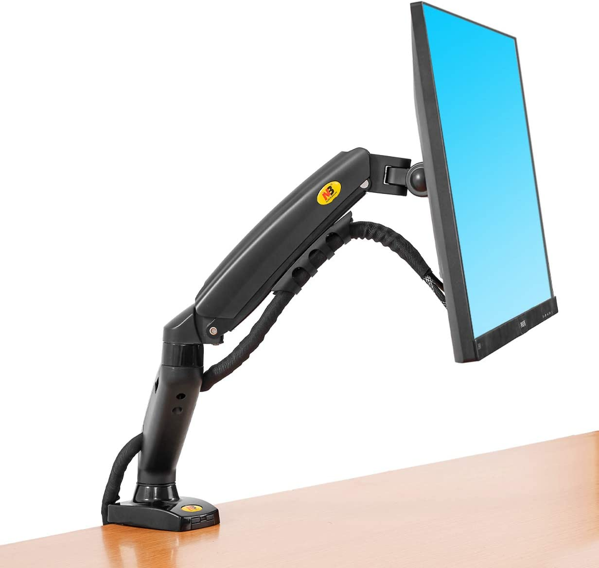 "15/"" to 34/"" Single Arm LCD Monitor Desk Table Mount Stand Full Motion Gas Spring"
