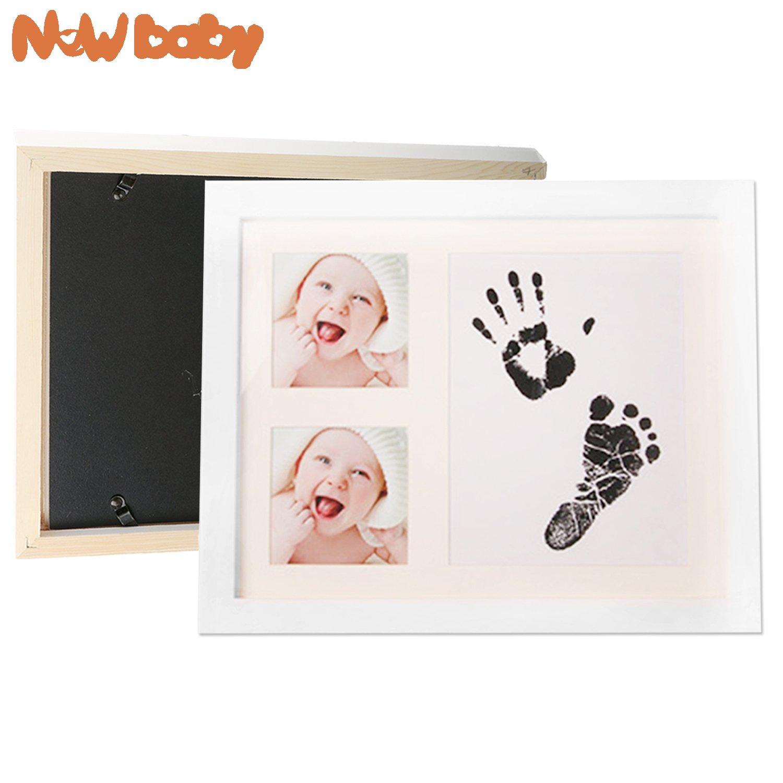 Baby Fussabdruck Set 4pcs 2. Schwarz-4psc Clips und Seil TBoonor Ungiftig Reinigen Stempelkissen kit mit Impressum Karten Abdruck set baby f/ür Neugeborene 0-6 Monate