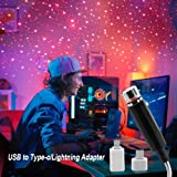 Risunpet Star Projector Night Light, Adjustable Romantic Loyalsea Galaxy Flexible Portable Night Lamp Decorations for Car's Interior, Ceiling, Bedroom, Party and More(Type-C)