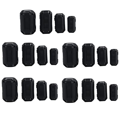 Ogrmar 20PCS EMI RFI Noise Filter Clip/Noise Suppressor Cable Clip for 5mm/ 7mm/ 9mm/ 13mm Inner Diameter USB/Audio/Video Cable Power Cord (Black): Car Electronics