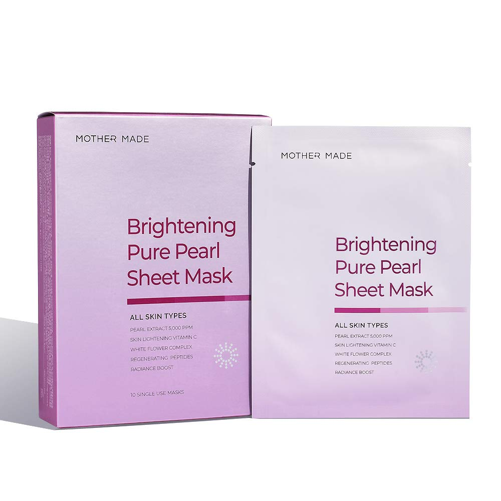MOTHER MADE Brightening Pure Pearl Face Sheet Mask with Pearl Extract 5,000 ppm, Vitamin C, Hyaluronic Acid, Pack of 10, for Hydrating, Soothing, Clear Complexion, Natural Radiance