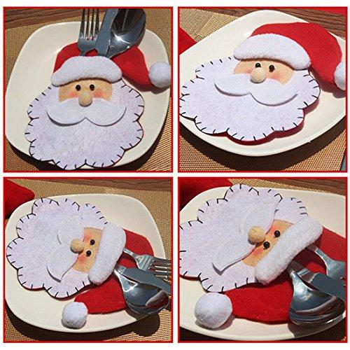 Dinner Fork Model - UNKE Christmas Santa Claus Knife Fork Spoon Cutlery Bag Pocket Dinner Table Decor