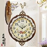 AYYA Creative wall clock garden clock wall clock quartz clock two-way bell coffee color