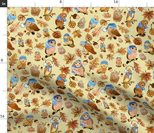 Winter Owls Fabric - Fall Feathered Friends In Hats Cute Woodland Watercolor Owl Animal Baby Weather Autumn Print on Fabric by the Yard - Modern Jersey - for Fashion Apparel Clothing with 4-Way