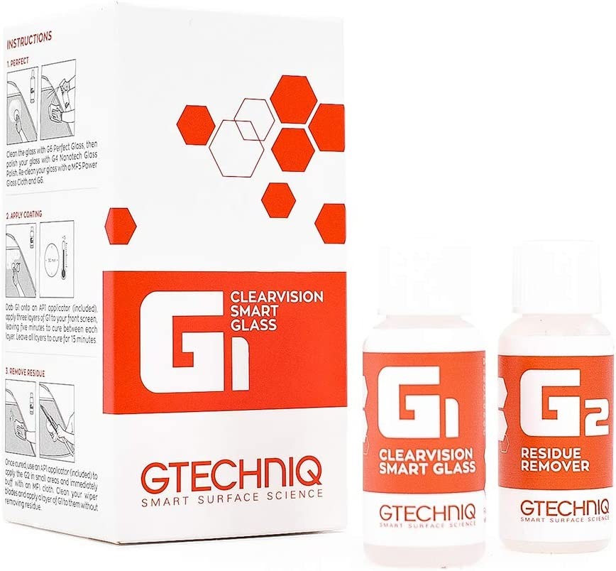 Gtechniq - G1 ClearVision Smart Glass - Improve Wet Weather Visibility; Durable Hydrophobic Coating; Chemically Bonds to Glass; Lasts 1 to 2 Years; More Easily Remove Contaminates (15 milliliters)