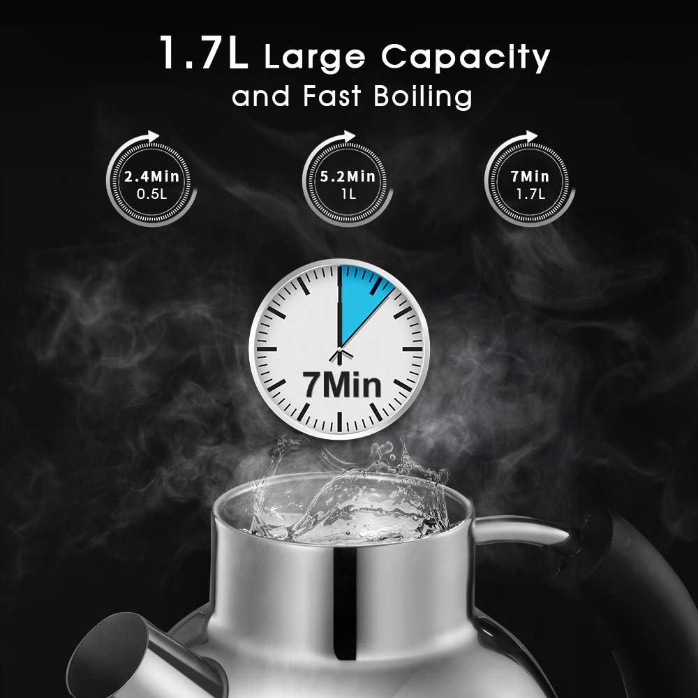 Food-Grade Material Matte Silver Boil Dry Protection /& Automatic Shutoff 1500W Electric Retro Kettle Fast Heating ASCOT 1.7L Electric Kettle 100/% Stainless Steel Hot Water Kettle