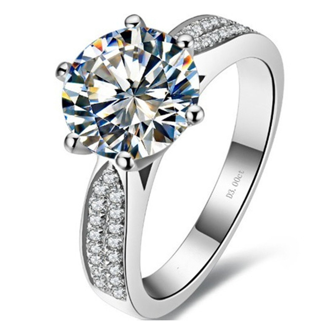 3CT Star Brand Sterling Silver Anniversary Ring for Wife NSCD Simulated Diamond Micro Paved