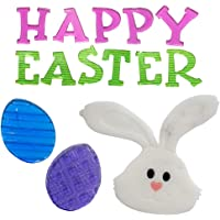TRIXES Happy Easter Decorative Letter Window Stickers Bunny and Eggs - Pink and Green Gel Clings