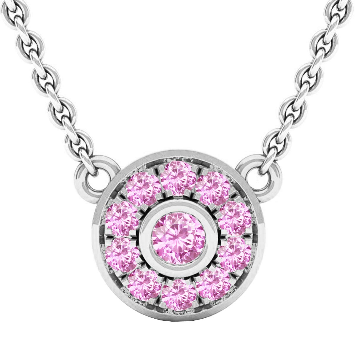 Gold Chain Included Dazzlingrock Collection Round Gemstone Ladies Pendant 10K Gold