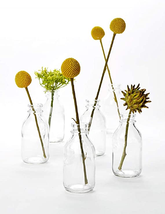 Serene Spaces Living Glass Milk Bottle Bud Vases Vintage Milk Bottle Style Vases For Home Décor Event Centerpieces And More 4 25 H X 2 D Set Of 6 Home Kitchen