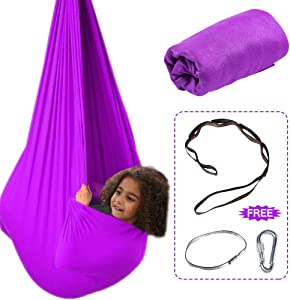 Aokitec Therapy Swing for Kids with Special Needs (Hardware Included) Snuggle Swing Cuddle Hammock Indoor Adjustable Aerial Yoga for Children with Autism, ADHD, Aspergers, Sensory Integration (Purple)