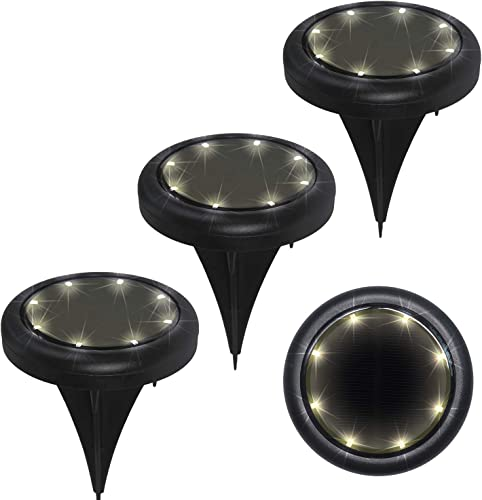 Aircover Solar Ground Lights, 8 LED Solar Garden Lights Outdoor Waterproof In-Ground Disk Lights Solar Powered Landscape Lighting for Yard Lawn Patio Deck Flood Lights 4 Packs Warm White