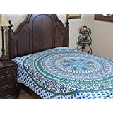 """NovaHaat Mandala Peacock Elephant Duvet Cover - REVERSIBLE Duvet Cover in White, Blue, Teal and Green - 100% Fine Cotton Ethnic Indian Style Bedding Comforter ~ Double Size 88"""" x 86"""""""