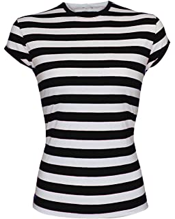 0db82e266 Wicked Fun New Angies Ladies Stripped Shirt Fancy Dress Stripe Short Sleeve  Cotton Women's T Shirts