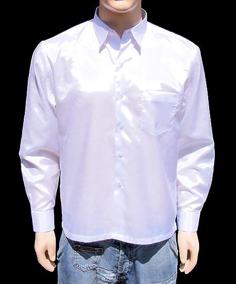 16fb251d8 Amazon.com: Men's Thai Silk Shirt Long Sleeved / Sleeves in White ...
