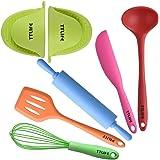 TTLIFE Utensili da cucina in silicone 7 pezzi colorati con girello, spatola, sbucciatore, pinra rotante, clip a mano resistenti al calore, sbattere
