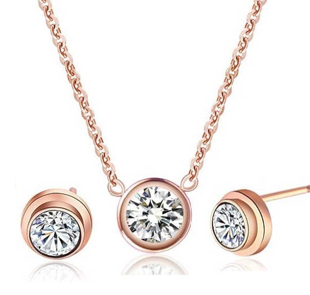 Descubrir 14 K bañado en oro rosa de diamante collar con colgante de acero de titanio individual + Juego de pendientes con cristales de, para mujer, (f1327) findout