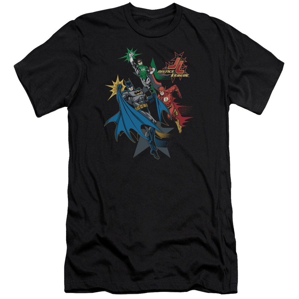 Jla Action Stars Premium Adult Slim Fit T-Shirt