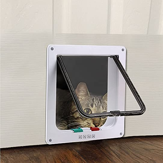 FLOVEME 4 Way Locking Indoor/Outdoor Cat Door For Cat And Small Dog (