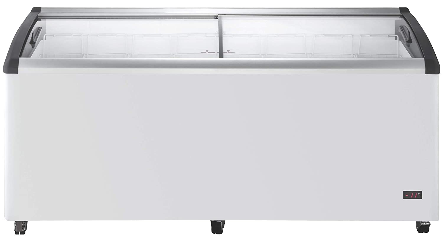 Chef's Exclusive Commercial Mobile Ice Cream Display Chest Freezer Curved Sliding Glass Lids Frost Free Sub Zero with 8 Wire Baskets, 71.7 Inch Wide, White 61vchJrvrAL._SL1500_