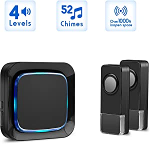 Wireless Door Bell Chime with 2 Waterproof Transmitters and 1 Receiver, Operating at 1000 Ft Long Distance (Black)
