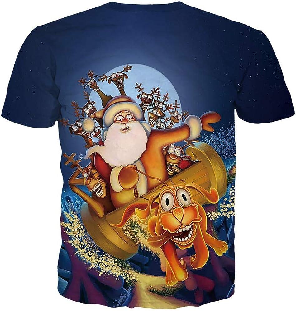 SMILEQ Camiseta navideña para Hombre Casual Cuello Redondo Manga Corta Papá Noel Estampado Tops Blusa Suelta Talla Grande (S, Armada): Amazon.es: Ropa y accesorios